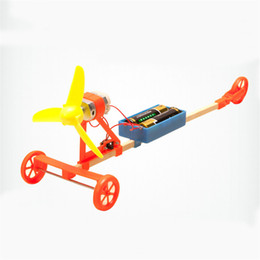 Wholesale powered model cars - 1 Set Electric Air Powered Racing Car Science Kid Learning Educational Aerodynamic Toy DIY Assembly Toy Kit