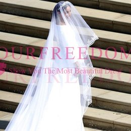 Wholesale 5m wedding veil - 2018 Modest Princess Harry Megan Wedding Veils Long Catheral Church Bridal Veils 3M 5M Custom Made High Quality