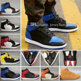 Wholesale Christmas Shadow - OG 1 Top 3 Mens Basketball Shoes Wheat Gold Bred Toe Banned Game Royal Blue Fragment UNC Shattered Metallic Red Camo Pack Shadow Sneakers