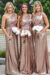 Wholesale Silk One Shoulder Long Dress - Cheap Rose Gold Bridesmaid Dresses Sequin 2018 One Shoulder Long Plus Size Wedding Guest Gowns Arabic Maid Of The Honor Gowns Wholesale