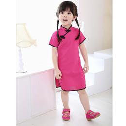 chicas de algodón cheongsam Rebajas 2018 vestido chino ropa de niña de verano estilo infantis QIPAO cheongsam algodón vestidos tradicionales