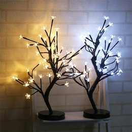 Wholesale light blossom tree - LED Battery Plum Blossom Light Waterproof 48 Head Night Lights Romantic Novelty Christmas Wedding Party Decor Tree Lamp Creative 38yd YY