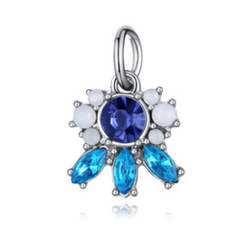 Colar de pingente de azul royal on-line-Serve para pulseiras pandora 10 pcs azul royal flor encantos de cristal pingente de prata encantos talão para atacado diy colar europeu jóias
