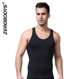 Corpo che modella la tuta online-ZEROBODYS Slim Incredibile Mens Body Vest Retail Assorbente Intimo Uomo Body Shapers V-Shaped Pull Back Correct Posture Vest