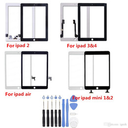 Wholesale Digitizer For Ipad Mini - For ipad Air Mini 2 Touch Screen Glass Panel with Digitizer for iPad 2 3 4 Black and White with Tools