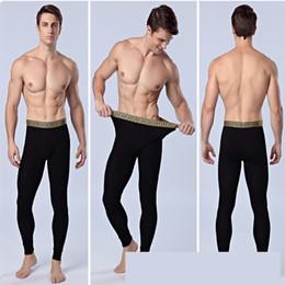 Wholesale Plus Size Winter Print Leggings - 2017 Fashion Winter Man Thermal Underwear Warm Men Cotton Leggings Tight Men Long Johns Plus Size Gold Belt Warm Underwear