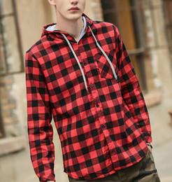 Farben tuxedo online-Mode Herren Kapuzen Shirts Klassische Plaid Langarm Shirts Tasche auf der Brust 4 Farben EUR Tuxedo Shirt
