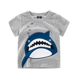 Argentina Chicos Camisetas Ropa Algodón Manga corta Diseño de la novedad Shark Patrón impreso Niños camiseta Camisetas de alta calidad baratos supplier cheap 3t boys clothes Suministro