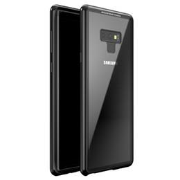 Металлический галактический футляр для телефона онлайн-Магнитная адсорбция флип телефон Case для Samsung Galaxy Note 9 металл 9 H закаленное стекло крышка для Samsung Note9 Магнето жесткий Coque