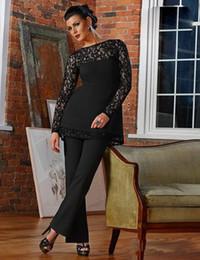 Vintage pizzo nero madre della sposa abito da sposo tuta guaina 2018 nuovo gioiello collo collo maniche lunghe appliques madre pantaloni formali indossa da vestito nero della mutanda della pizzo fornitori