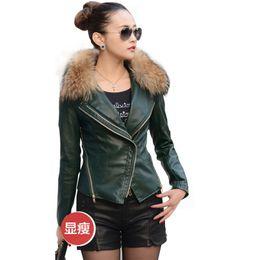 Wholesale raccoon leather fur coat - leather jacket women 2016 autumn winter coat with raccoon fur collar ladies motorcycle jacket FS0271