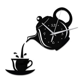 Wholesale Wall Coffee Clocks - Creative DIY 3D Acrylic Wall Clock Coffee Cup Teapot Kitchen Decorative Wall Clocks Living Room Fashion Home Decor Clock