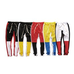 Wholesale Harem Pants Zippers - 2018 New side zipper pants hip hop Fear Of God Fashion urban clothing red bottoms justin bieber FOG jogger pants red Harem pants