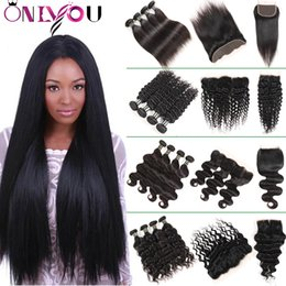 Wholesale deep curly virgin hair - Onlyou Human Hair Weaves Bundles with Closure Cheap 9a Brazilian Virgin Hair Soft Straight Body Deep Wave Kinky Curly Remy Hair with Frontal