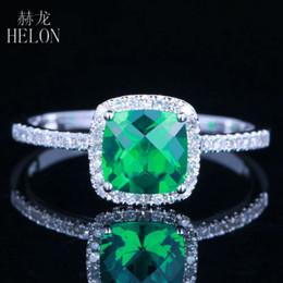 HELON Kissen 0.8ct behandelt Smaragd Ring Solid 14K Weißgold 100% Echte  Natürliche Diamanten Ring für Frauen Hochzeit Trendy Jewery 05871626f7