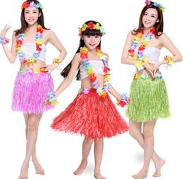38968cdb8a1c4 New Plastic Fibers Kid Grass Skirts Hula Skirt Hawaiian costumes 30 40 60CM  Girl Dress Up Hallowmas Xmas Show Dance Activity supplies