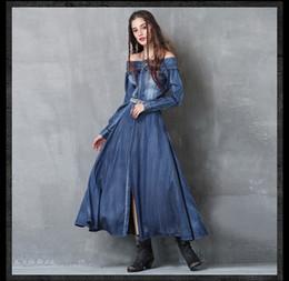 Compra retro on-line-Moda vestido, estilo europeu retro algodão denim azul gola manga comprida vestido de divisão bordado, bem-vindo ao sky2012 loja para comprar!