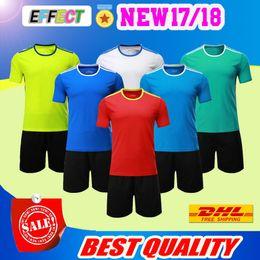 Wholesale Football Tshirt - Free shipping soccer jersey kit football tshirt + shorts pants uniform set men's sport articles Blank jersey 2017 new football shirts
