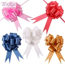 Wholesale Valentine Packages - Fengrise 30pcs 30mmx120cm Pull Bows Large Ribbon Wedding Decoration Car Diy Gift Packaging Ribbons Party Valentines Day Crafts