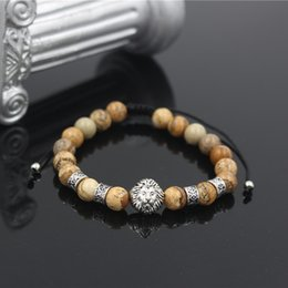 2020 projetos do bracelete do macrame Cor de prata antigo Lion Head Charme pedra natural dos homens Bead Bracelet Trançado Design Mulheres Bead Macrame Pulseira Jóias desconto projetos do bracelete do macrame