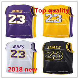 Wholesale polyester wrinkles - 2018 New Los Angeles Jersey Laker 23 LeBron James Lakers The City Whish Embroidery Logos 100% Stitched Yellow Purple White Black Jerseys