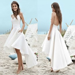 fe4d48a2bf strap beach wedding dresses high low Promo Codes - Cheap under $100 Summer Wedding  Dresses 2018