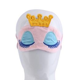Спящие маски с завязанными глазами онлайн-Прекрасный розовый синий Корона Спящая Маска тени для век глаз обложка путешествия мультфильм длинные ресницы с завязанными глазами подарок для женщин Девушки lesgas