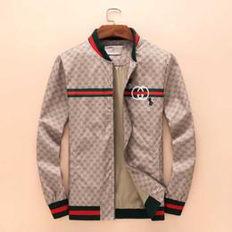 Marcas de chaqueta italiana online-2018 nueva marca italiana de lujo chaqueta para hombre chaqueta cortaviento impresa para hombre informal de manga larga Medusa chaqueta con cremallera M-3XL.