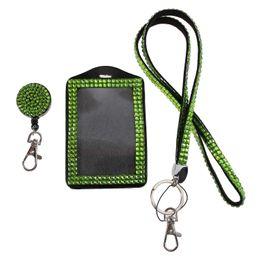 Wholesale Rhinestone Reel - Free shipping(50pcs lot) Handmade Apple Green Bling Crystal Neck Lanyard Cute Rhinestone Badge Reel Clip+Vertical Badge Holder+Strap Lanyard