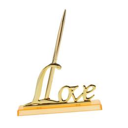 Définissez la décoration en alliage chaud or / argent avec le support Love Support signant des invités stylo ? partir de fabricateur