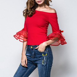Wholesale United Yarn - Europe and the United States spring and summer new style Sexy fashion Eugen yarn horn sleeve slim Slim T-shirt