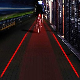 Wholesale Led Projection Logos - 1 Pc LOGO Projection Version Bicycle Rear Tail Lamp 5 LED 2 Laser Cycling Bike Light Warning Bicycle Rear Light Lamp