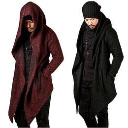 longitud ocasional de la chaqueta de la chaqueta Rebajas Hombres Capa del Cabo con Capucha Hip Hop Chaqueta con Longitud Asimétrica Manga Larga Capa del Otoño Hombre Abrigos Outwear Negro Rojo Cool Solid Color St