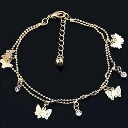 Wholesale Gold Butterfly Anklet - Women Charm Gold Butterfly Ankle Chain Anklet Foot Jewelry Sandal Fashion Girl Jewelry