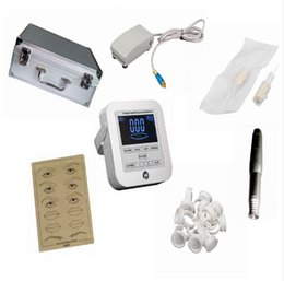 Wholesale digital permanent makeup tattoo - Tattoo Machine Digital Intelligent Permanent Makeup Eyebrow Lip Machine Kit Swiss Motor Tattoo Gun Power Supply Tattoo Needles
