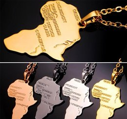 Pistola negra plateada online-Africa Map Collar colgante Platinum / 18K Real / Rose Gold / Black Gun plateado Unisex Mujer / Hombres Moda colgante estilo africano Hiphop Jewelry