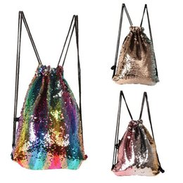 Wholesale Wholesale Gym Drawstring Bags - Mermaid Sequins Drawstring Shoulder Bag Reversible Sequin Backpack Glittering Dance Bag Shopping Travel Sports Gym Bags OOA3981