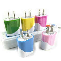 Wholesale custom iphone color - 5V 1000MA 1A double color egg roll style us wall charger plug for iphone 7 6 samsung dual color charger