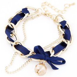 dresses singapore Promo Codes - Trendy Fashion Bow Butterfly Bracelet Crystal Pulsera Cloth Double Chain Black Bracelet Dress Accessory Bracelete PD26