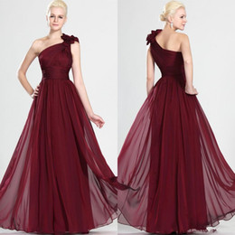 Wholesale Cheap Bridesmaids Dresses China - New Burgundy One SHoulder Ruched Full Chiffon Bridesmaid Dresses 2018 Cheap From China Evening Gowns Custom Made High Quality