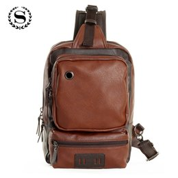Wholesale black hole pack - simple design leather zipper bags one shoulder backpack business chest pack with earphone hole casual bolsos hombre ZZ499