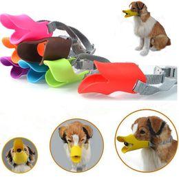 Mascara de mordida online-9 colores Anti Bite Pato Boca Forma Boca Cubiertas para perros Anti-llamado Bozal Máscaras silicona Pet Boca Conjunto Mascotas Máscaras