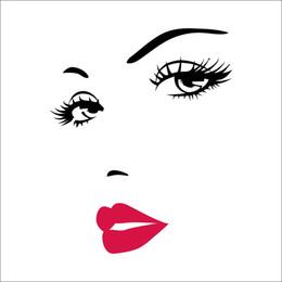 Etiquetas vermelhas dos bordos on-line-DIY meninas cílios olho parede decalque e lábios vermelhos adesivo de parede para salão de beleza e maquiagem parede decoração