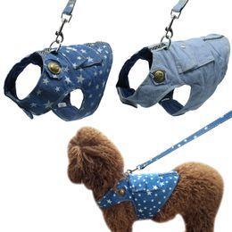 2019 maglia denim piccola Denim Dog Harness and Leash Jeans Pet Vest Jacket per piccoli cuccioli Teddy Poddle 3 Taglia S M L sconti maglia denim piccola