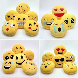 Wholesale cute stuffs home - 21 Styles 35cm Cute Emoji Pillows QQ Smile Face Emotion Soft Decorative Cushions Stuffed Plush Toy Doll Christmas Home Decor I203