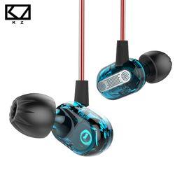 pilote de câble Promotion KZ ZSE Dynamique Double Pilote Écouteur Dans L'oreille Casque Moniteurs Audio Casque Isolement Du Bruit HiFi Sport Musique Bleu Écouteurs Mic