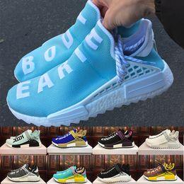 Wholesale Glow Dark Shoe Laces - 2018 Body Earth BBC Holi Cream Human Race trail Running Shoes Men Women Pharrell Williams HU Runner Equality Glow sports Trainer sneake