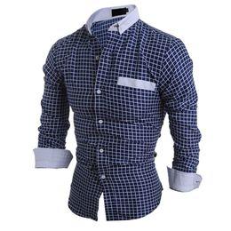 Ropa casual de oficina hombres online-Business Casual camisa a cuadros de manga larga de desgaste masculino blusa de los hombres jóvenes de oficina mantas de la tapa Tops Tide Boys New Outwear camisas 2018 caliente de la venta