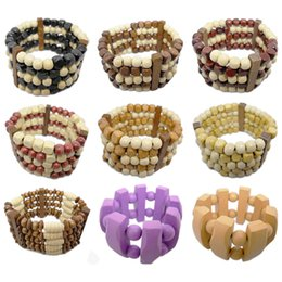 abacus gifts Promo Codes - Wooden Bead Bracelet Mix 9 Styles Stretch Strands Chain Colorful Abacus Round Five Rows Wood Beads Women Charm Fashion Bracelets New (JM004)