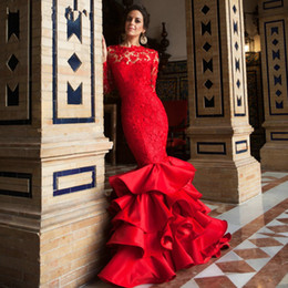 Wholesale Portrait Specials - Indian Saree Evening Dress 2018 backless robe de soiree Mermaid Floor Length red Lace Formal Evening party Gowns Alibaba China